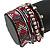 Hematite/ Silver/ Dark Red Glass Bead, Silk Cord Handmade Magnetic Bracelet - 18cm L - view 4