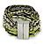 Silver/ Light Green/ Black Glass Bead, Silk Cord Handmade Magnetic Bracelet - 18cm L - view 4