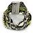 Silver/ Light Green/ Black Glass Bead, Silk Cord Handmade Magnetic Bracelet - 18cm L - view 8