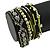 Silver/ Light Green/ Black Glass Bead, Silk Cord Handmade Magnetic Bracelet - 18cm L - view 5
