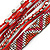 Silver/ Red/ Carrot/ Burgundy Glass Bead, Silk Cord Handmade Magnetic Bracelet - 18cm L - view 3