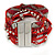 Silver/ Red/ Carrot/ Burgundy Glass Bead, Silk Cord Handmade Magnetic Bracelet - 18cm L - view 8