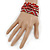 Silver/ Red/ Carrot/ Burgundy Glass Bead, Silk Cord Handmade Magnetic Bracelet - 18cm L - view 2