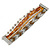 Silver/ White/ Toffee/ Bronze Glass Bead, Silk Cord Handmade Magnetic Bracelet - 18cm L
