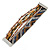 Silver/ Bronze/ Peacock/ Brown Glass Bead, Silk Cord Handmade Magnetic Bracelet - 18cm L