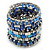 Wide Coiled Ceramic, Acrylic, Glass Bead Bracelet (Blue, Teal, Silver) - Adjustable - view 8