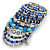 Wide Coiled Ceramic, Acrylic, Glass Bead Bracelet (Blue, Teal, Silver) - Adjustable - view 6