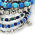Wide Coiled Ceramic, Acrylic, Glass Bead Bracelet (Blue, Teal, Silver) - Adjustable - view 4