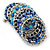 Wide Coiled Ceramic, Acrylic, Glass Bead Bracelet (Blue, Teal, Silver) - Adjustable - view 9