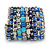 Wide Coiled Ceramic, Acrylic, Glass Bead Bracelet (Blue, Teal, Silver) - Adjustable - view 10