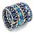 Wide Coiled Ceramic, Acrylic, Glass Bead Bracelet (Blue, Teal, Silver) - Adjustable - view 5