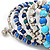Wide Coiled Ceramic, Acrylic, Glass Bead Bracelet (Blue, Teal, Silver) - Adjustable - view 7