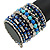 Wide Coiled Ceramic, Acrylic, Glass Bead Bracelet (Blue, Teal, Silver) - Adjustable - view 3