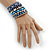 Wide Coiled Ceramic, Acrylic, Glass Bead Bracelet (Blue, Teal, Silver) - Adjustable - view 2