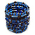 Wide Coiled Ceramic, Acrylic, Glass Bead Bracelet (Blue, Brown) - Adjustable - view 7