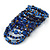 Wide Coiled Ceramic, Acrylic, Glass Bead Bracelet (Blue, Brown) - Adjustable - view 5