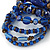 Wide Coiled Ceramic, Acrylic, Glass Bead Bracelet (Blue, Brown) - Adjustable - view 4
