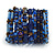 Wide Coiled Ceramic, Acrylic, Glass Bead Bracelet (Blue, Brown) - Adjustable - view 8