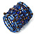 Wide Coiled Ceramic, Acrylic, Glass Bead Bracelet (Blue, Brown) - Adjustable - view 6