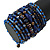 Wide Coiled Ceramic, Acrylic, Glass Bead Bracelet (Blue, Brown) - Adjustable - view 3