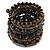 Wide Coiled Ceramic, Acrylic, Glass Bead Bracelet (Black, Bronze, Grey) - Adjustable - view 7