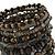 Wide Coiled Ceramic, Acrylic, Glass Bead Bracelet (Black, Bronze, Grey) - Adjustable - view 4