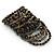 Wide Coiled Ceramic, Acrylic, Glass Bead Bracelet (Black, Bronze, Grey) - Adjustable - view 8