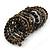 Wide Coiled Ceramic, Acrylic, Glass Bead Bracelet (Black, Bronze, Grey) - Adjustable - view 5