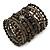 Wide Coiled Ceramic, Acrylic, Glass Bead Bracelet (Black, Bronze, Grey) - Adjustable - view 6