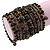Wide Coiled Ceramic, Acrylic, Glass Bead Bracelet (Black, Bronze, Grey) - Adjustable - view 3