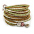 Multistrand White/ Bronze/ Lime Green Glass Bead Wrap Flex Bracelet - 19cm L - view 5