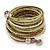 Multistrand White/ Bronze/ Lime Green Glass Bead Wrap Flex Bracelet - 19cm L - view 6