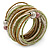 Multistrand White/ Bronze/ Lime Green Glass Bead Wrap Flex Bracelet - 19cm L