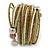 Multistrand White/ Bronze/ Lime Green Glass Bead Wrap Flex Bracelet - 19cm L - view 4