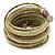 Multistrand White/ Bronze/ Lime Green Glass Bead Wrap Flex Bracelet - 19cm L - view 7