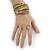 Multistrand White/ Bronze/ Lime Green Glass Bead Wrap Flex Bracelet - 19cm L - view 2