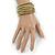 Multistrand White/ Bronze/ Lime Green Glass Bead Wrap Flex Bracelet - 19cm L - view 8