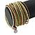 Multistrand White/ Bronze/ Lime Green Glass Bead Wrap Flex Bracelet - 19cm L - view 3