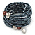 Multistrand Hematite Glass Bead Wrap Flex Bracelet - 19cm L