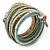 Multistrand White/ Bronze/ Light Blue Glass Bead Wrap Flex Bracelet - 19cm L
