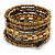 Gold/ Bronze/ Brown Glass and Acrylic Bead Coiled Flex Bracelet - Adjustable