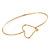 Delicate Gold Tone Slim Bangle with Open Heart Closure - 18cm L