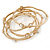 Off Round Etched  Gold Tone with White Glass Pearls Bangles - Set of 5 Pcs - view 5