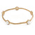 Off Round Etched  Gold Tone with White Glass Pearls Bangles - Set of 5 Pcs - view 3