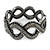 Black/ Grey/ Clear Crystal Plaited Hinged Bangle Bracelet In Black Tone - 19cm L - view 5