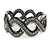 Black/ Grey/ Clear Crystal Plaited Hinged Bangle Bracelet In Black Tone - 19cm L - view 8