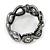 Black/ Grey/ Clear Crystal Plaited Hinged Bangle Bracelet In Black Tone - 19cm L - view 7