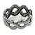 Black/ Grey/ Clear Crystal Plaited Hinged Bangle Bracelet In Black Tone - 19cm L - view 6