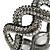 Black/ Grey/ Clear Crystal Plaited Hinged Bangle Bracelet In Black Tone - 19cm L - view 3