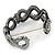 Black/ Grey/ Clear Crystal Plaited Hinged Bangle Bracelet In Black Tone - 19cm L - view 4